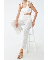 Forever 21 Linen-blend Striped Pants , Cream/gold - Multicolour