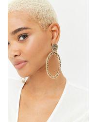 FOREVER21 - Cutout Drop Hoop Earrings - Lyst