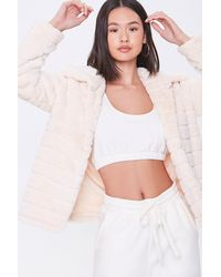 Forever 21 Quilted Faux Fur Co - White