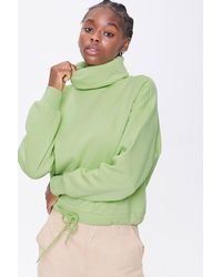 Forever 21 Fleece Turtleneck Sweater - Green