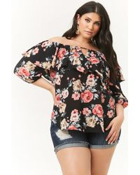 63ca1b4ea30 Forever 21 - Women s Plus Size Floral Flounce Off-the-shoulder Top - Lyst