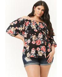 63ca1b4ea30 Forever 21 - Women s Plus Size Floral Flounce Off-the-shoulder Top - Lyst