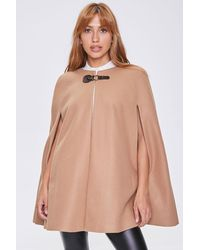 Forever 21 Faux Suede Clasped Cape - Brown