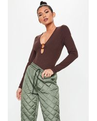 Missguided - O-ring Ribbed Bodysuit At - Lyst