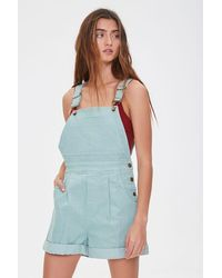 Forever 21 Corduroy Overall Shorts - Blue