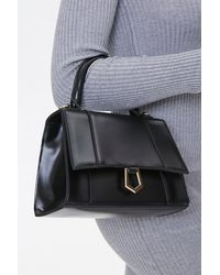 Forever 21 Structured Flap-top Satchel In Black