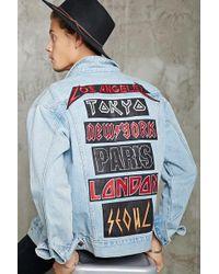 Forever 21 City Patched Denim Jacket - Blue