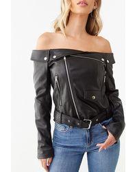 Forever 21 Faux Leather Off-the-shoulder Moto Jacket , Black
