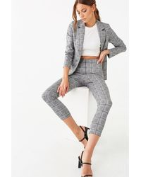 Forever 21 Glen Plaid Blazer & Pants Set , Black/grey - Gray