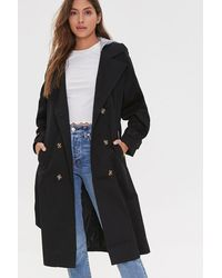 Forever 21 Hooded Double-breasted Trench Co - Black