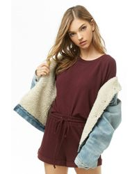 Forever 21 Women's Fleece Sweatshirt & Shorts Set - Multicolour