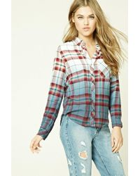 Forever 21 - Ombre Check Flannel Shirt - Lyst
