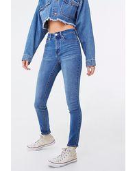 Forever 21 High-rise Skinny Jeans In Medium Denim, Size 29 - Blue