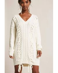 Forever 21 - Cable Knit Mini Jumper Dress - Lyst