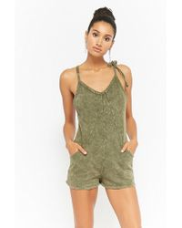 98d37eeff29 Forever 21 - Women s Mineral Wash Playsuit - Lyst