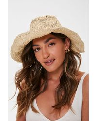 Forever 21 Curved-brim Straw Bucket Hat - Natural
