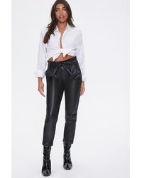Forever 21 Faux Leather Paperbag Pants - Black