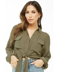 Forever 21 Clip Dot High-low Shirt , Light Olive - Green