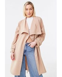 Forever 21 Shawl Lapel Trench Coat - Multicolour