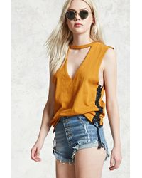 Forever 21 - Frayed Button Fly Denim Shorts - Lyst