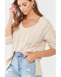 Forever 21 High-low Cable Knit Sweater - Natural