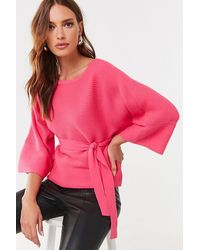 Forever 21 Belted Kimono-sleeve Sweater - Pink