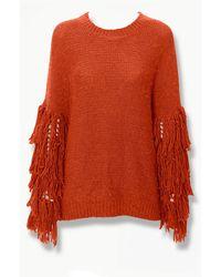Forever 21 Fringe-trim Knit Sweater - Orange