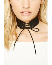 Forever 21 | Faux Leather Lace-up Choker | Lyst