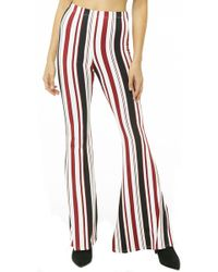 Forever 21 Striped Flare Pants , Burgundy/cream - Red