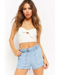 Forever 21 - Mid-rise Chambray Shorts - Lyst