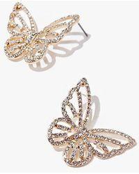 Forever 21 Butterfly Rhinestone Stud Earrings - Metallic