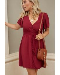 Forever 21 - Button-front Mini Dress , Burgundy - Lyst