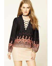 4796b63ac9c Forever 21 Fringe Lace-panel Top in Natural - Lyst