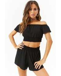 Forever 21 - Smocked Crepe Off-the-shoulder Crop Top & Shorts Set - Lyst