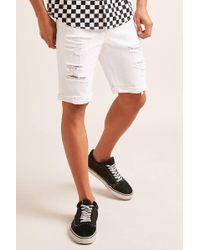 Forever 21 - Destroyed Cuffed Denim Shorts - Lyst