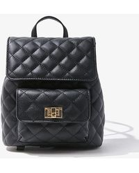 Forever 21 Quilted Faux Leather Backpack - Black