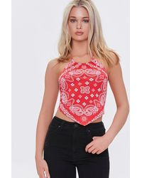 Forever 21 Paisley Print Halter Top - Red