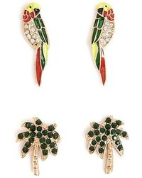 Forever 21 - Palm Tree & Parrot Stud Earring Set - Lyst