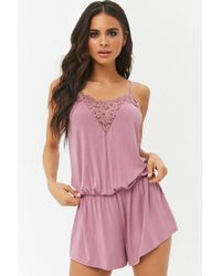 Forever 21 - Floral Lace-trim Cami Romper - Lyst