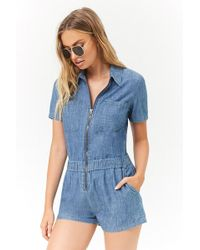 9c7c346badd Forever 21 - Women s Chambray Zip-front Playsuit - Lyst