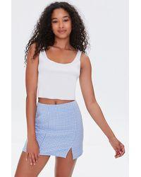 Forever 21 Checkered Mini Skirt - Blue