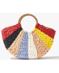 Forever 21 Colorblock Basketwoven Tote Bag - Red