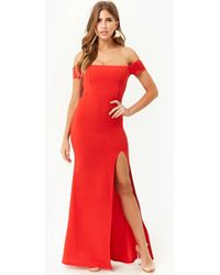 Forever 21 Vestido maxi hombros descubiertos - Rojo