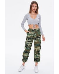 Forever 21 Camo Cargo Sweatpants - Green