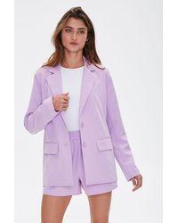Forever 21 Button-front Blazer - Purple