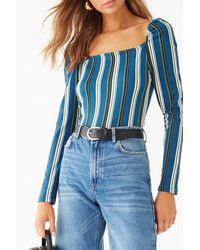 Forever 21 Striped Square Neck Top , Teal/cream - Blue