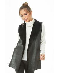 Forever 21 - May Logan Glittery Faux Fur Vest - Lyst