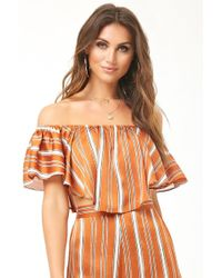 Forever 21 - Striped Off-the-shoulder Top - Lyst