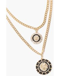Forever 21 Ornate Lion Pendant Layered Necklace - Metallic