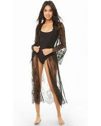 Forever 21 - Sheer Scalloped Lace Robe - Lyst f2766251e
